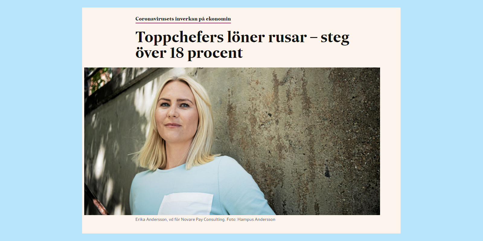 Erika Andersson intervjuad i SvD