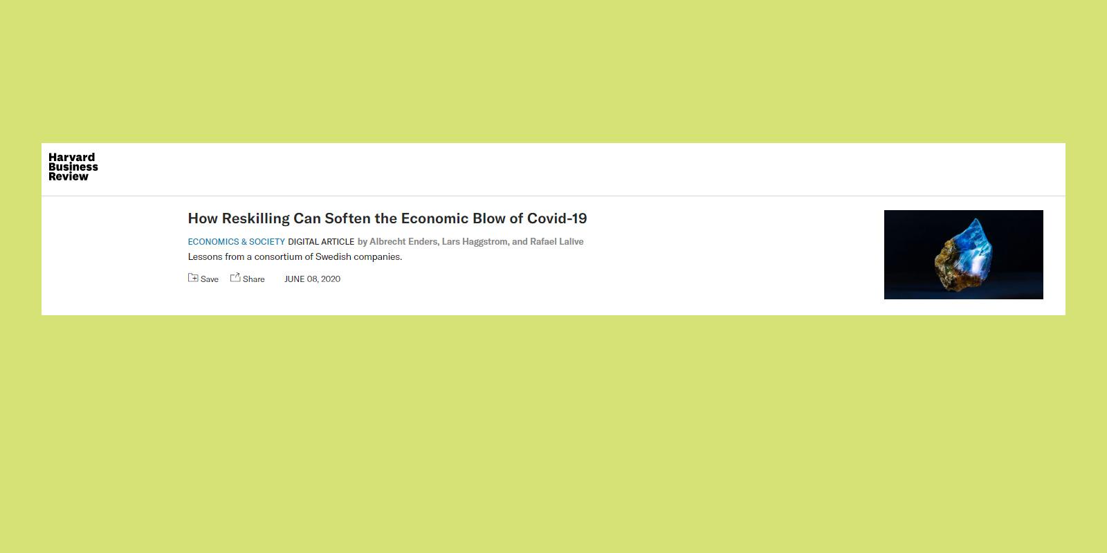 Harvard Business Review uppmärksammar Beredskapslyftet