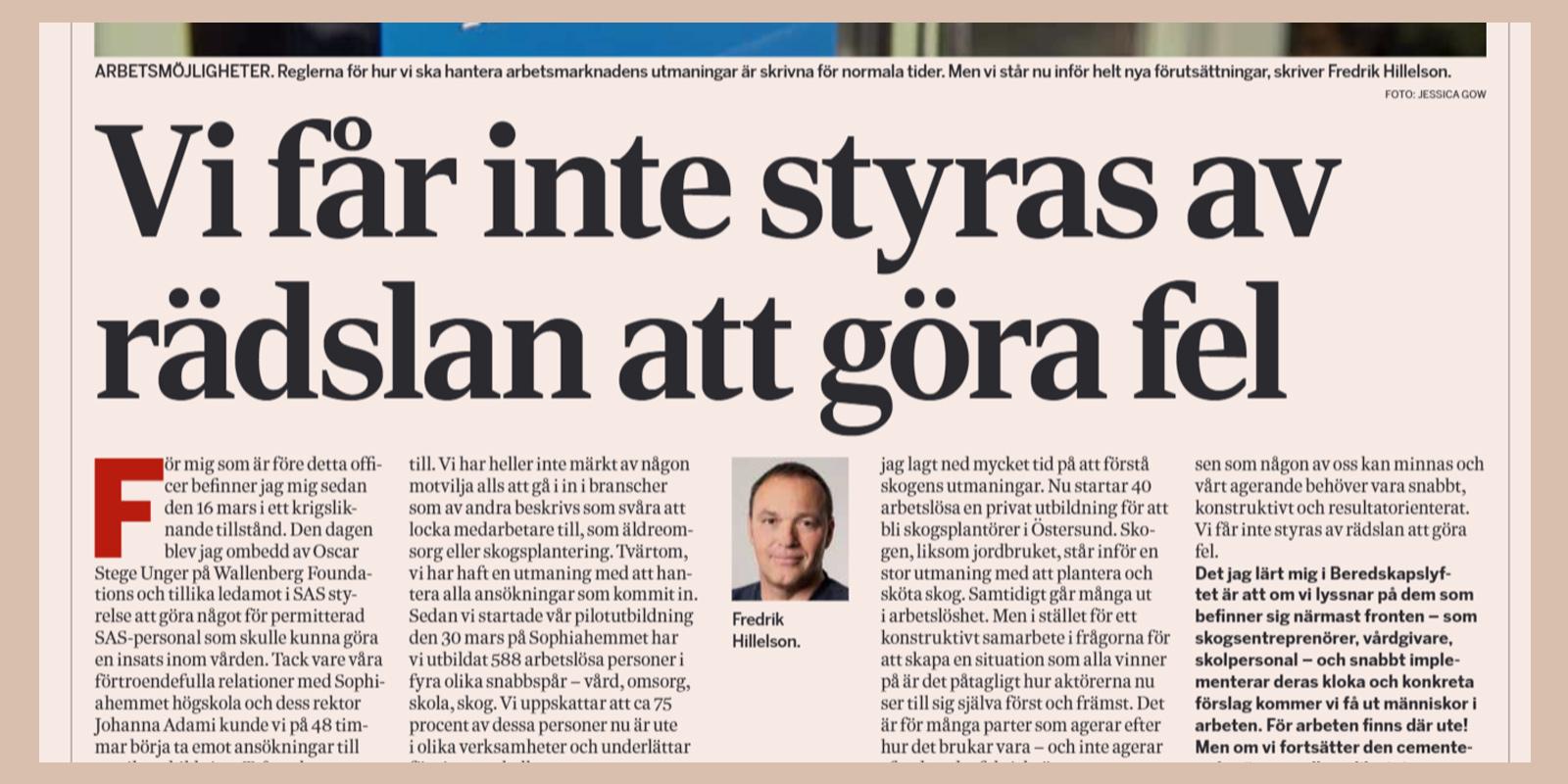 Fredrik Hillelson i Dagens Industri
